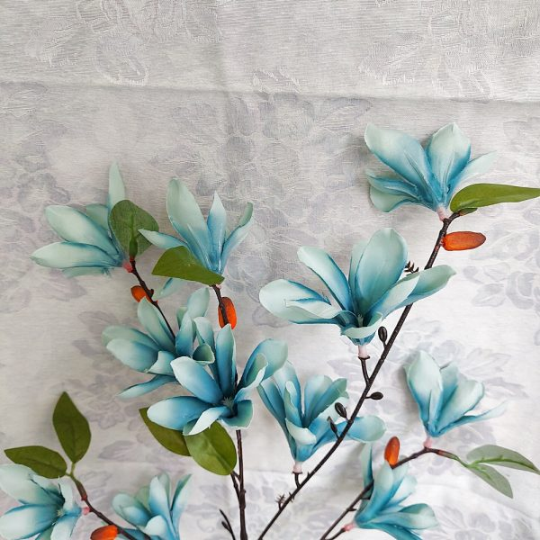 Crenguta flori albastre artificiale Francesca 85cm