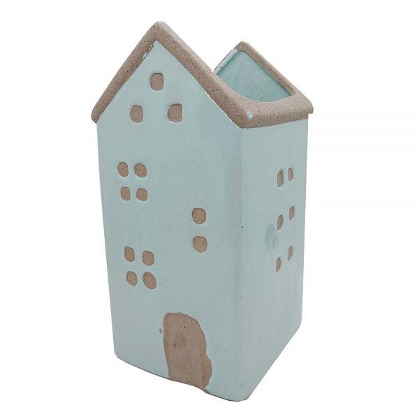 Ghiveci ceramica House bleu 10x20cm