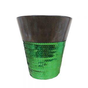 Ghiveci metal Shinny Spring verde 12cm