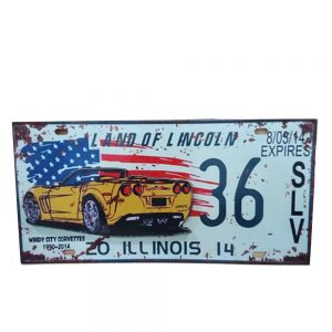 Placa lemn vintage Illinois Corvette
