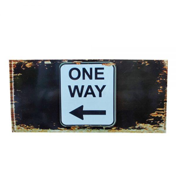 Placa lemn vintage One Way