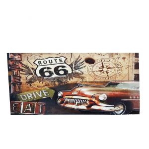 Placa lemn vintage Route 66 Car
