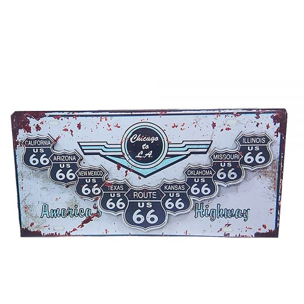 Placa lemn vintage Route 66 Highway