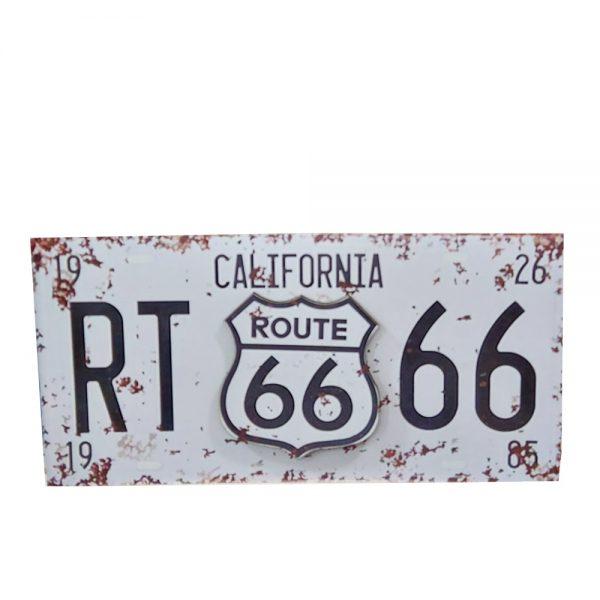 Placa lemn vintage Route 66 alba