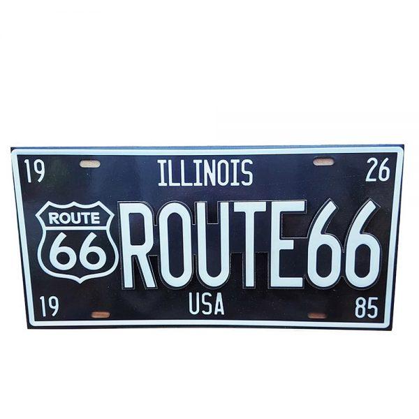 Placa lemn vintage Route 66 neagra