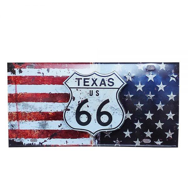 Placa lemn vintage Texas Route 66
