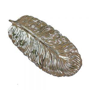 Platou ceramica Tropical Leaf 35x15cm argintiu