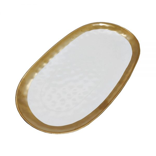 Platou ceramica Victoria 30x18cm alb-auriu