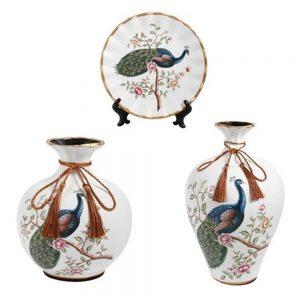 Set 2 vaze & farfurie Oliver ceramica