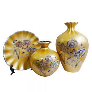 Set 2 vaze & farfurie Therese auriu ceramica