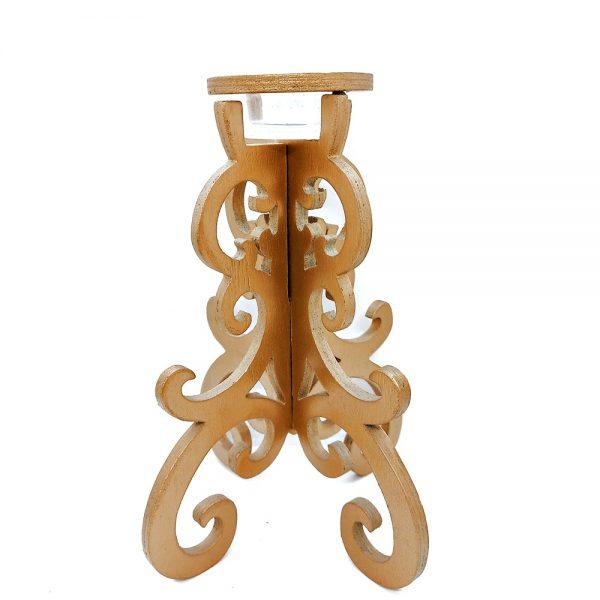 Sfesnic auriu lemn Delicate 23cm suport lumanare