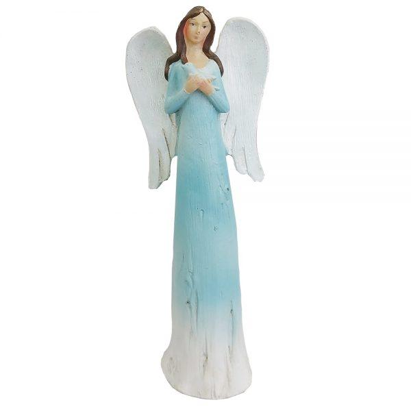 Statueta inger Harmony albastru rasina 22cm
