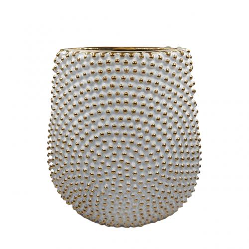 Vaza ceramica Allegria alb-auriu 25cm