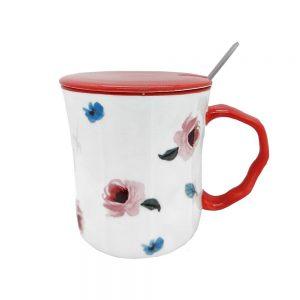 Cana ceramica About Flowers cu capac
