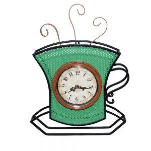 Ceas de perete Coffee Cup 33x48cm, Metal, Vintage