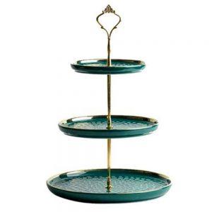 Etajera prajituri Royal verde portelan, 3 platouri
