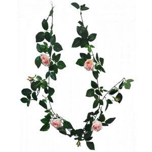 Ghirlanda trandafiri artificiali Peach Rosalinda 180cm
