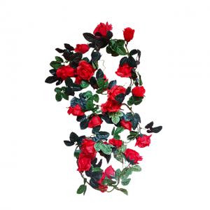 Ghirlanda trandafiri artificiali Red Rosalinda 165cm