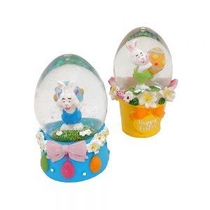Glob sticla cu iepuras Easter Flowers 5cm