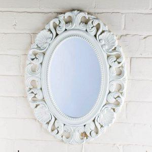 Oglinda ovala Agatha 42x53cm, Alba, Vintage