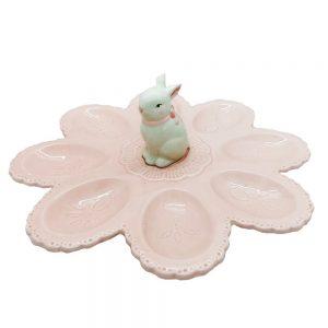 Platou 8 oua Easter Bunny roz ceramica