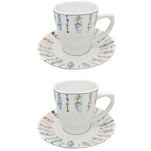 Set 2 cesti & farfurii Feather Ceramica