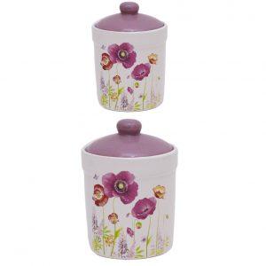 Set 2 recipiente ceramica Purple Peony