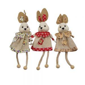 Set 3 Iepurasi Bunny Girls 18cm, material textil