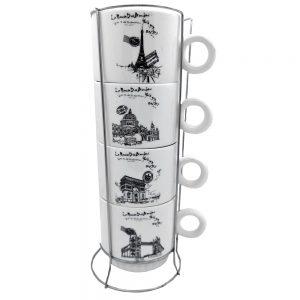 Set 4 cesti cafea Paris ceramica 200ml