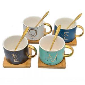 Set 4 cesti ceramica Love cu farfurioare bambus