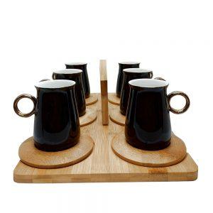 Set 6 cesti negre & farfurioare bambus Erdem