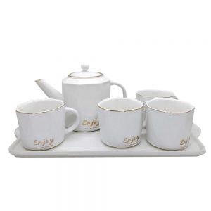 Set cafea ceai 4 persoane Enjoy alb, Portelan