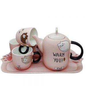 Set ceai cafea Mira The Cat portelan