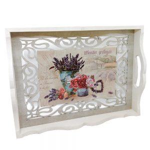 Tava lemn Lavender & Roses 36x27x5.5cm