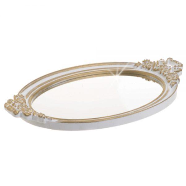 Tava oglinda Victoria 38x25cm, Alb-auriu antichizat