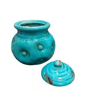 Vaza ceramica Bellamy albastra 16cm, Vintage