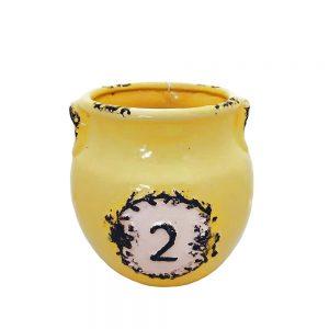 Vaza ceramica Francis galbena 17cm Amfora vintage