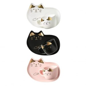 Set 3 cesti & farfurii pisica Remi ceramica