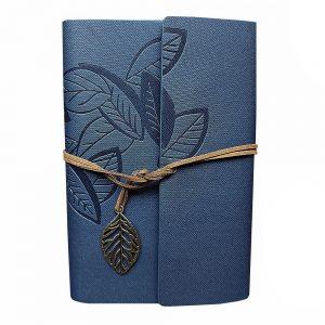 Agenda vintage bleumarin Leaf 12x18cm