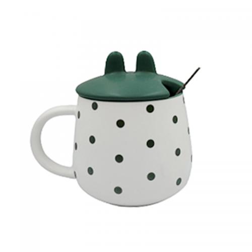 Cana cu capac Green Dots 300ml ceramica