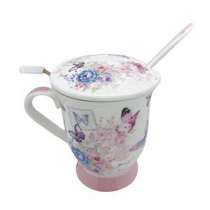 Cana portelan Clarice fluturi, Set pentru ceai