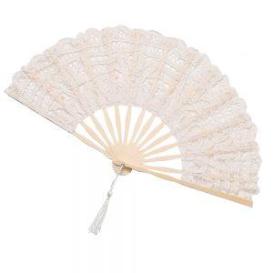 Evantai dantela Lorelei crem, Maner bambus, Vintage