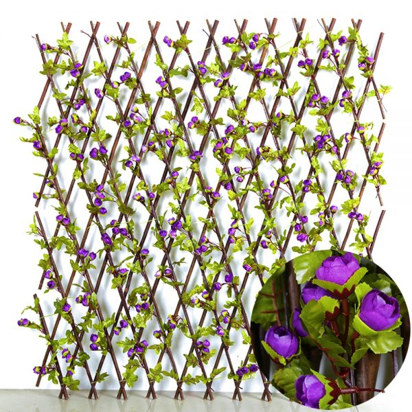 Gard artificial trandafiri Purple Patio extensibil