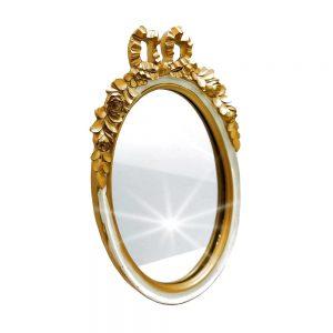 Oglinda de masa Memories alb-auriu antichizat