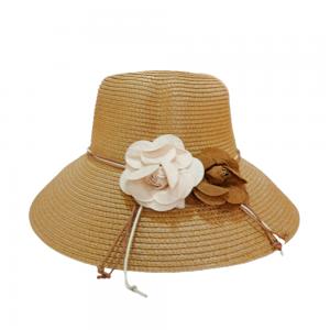 Palarie plaja dama Flowers maro 58cm