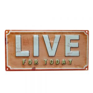 Placa metalica Live For Today vintage