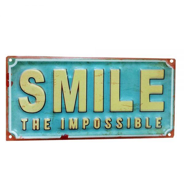 Placa metalica Smile The Impossible vintage