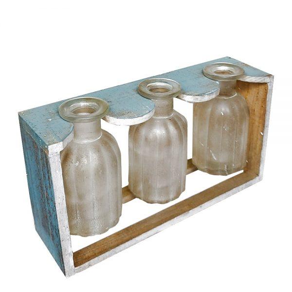 Postament lemn cu 3 vaze Corinne vintage