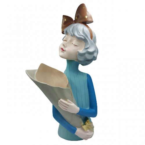 Statueta Blue Mademoiselle 37cm cu vaza
