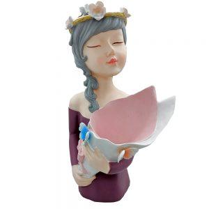 Statueta Mademoiselle 32cm cu vaza mov